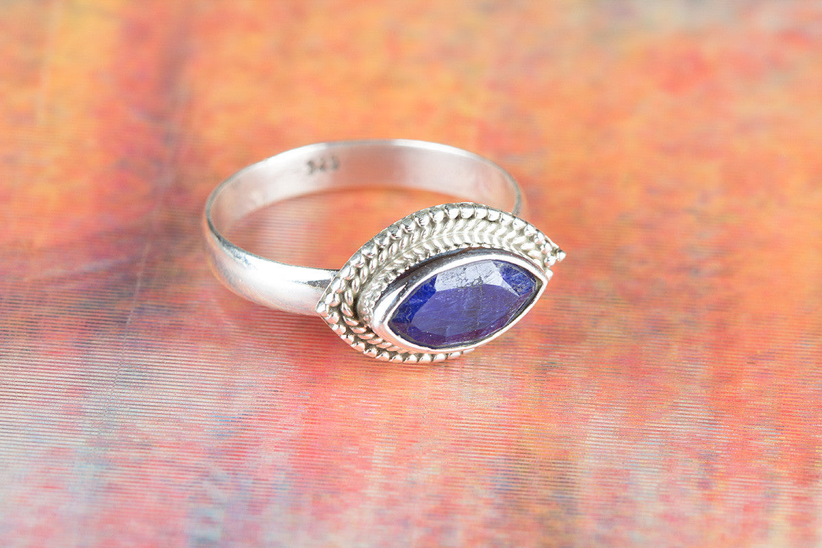 Amazing 925 Sapphire Gemstone Silver Ring