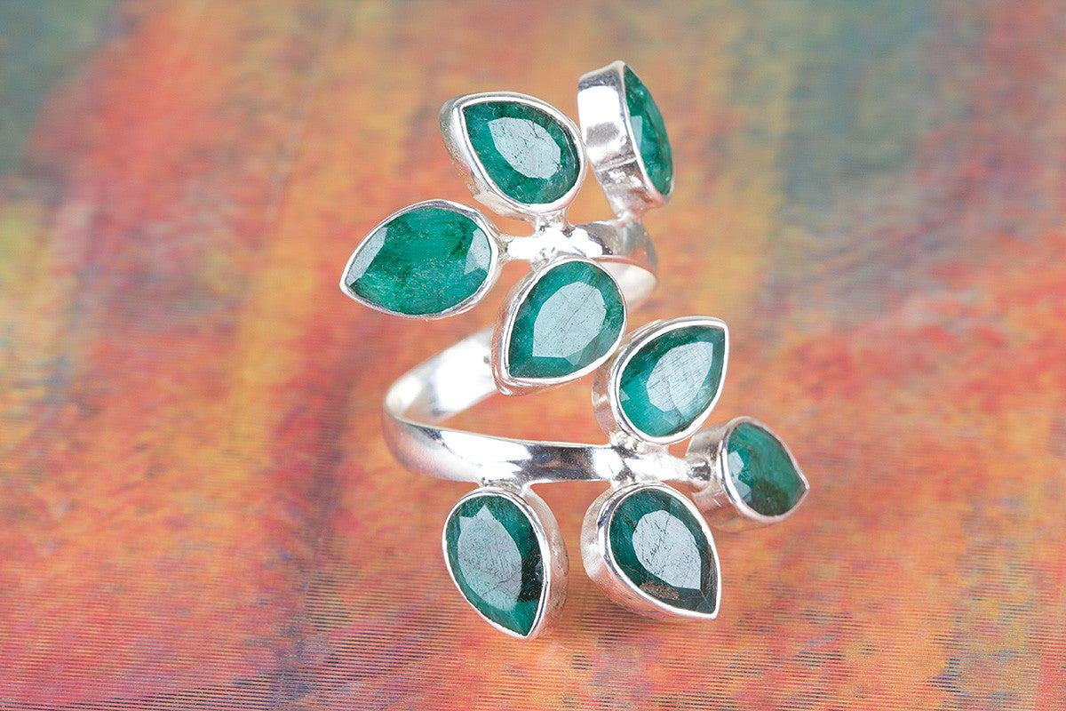 Emerald Gemstone Ring, Engagement Ring, Emerald Jewelry, 925 Sterling Silver Handmade Ring ,Leafy Ring,Green Stone Ring