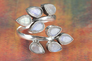 Awesome Faceted Rainbow Moonstone Gemstone 925 Silver Ring