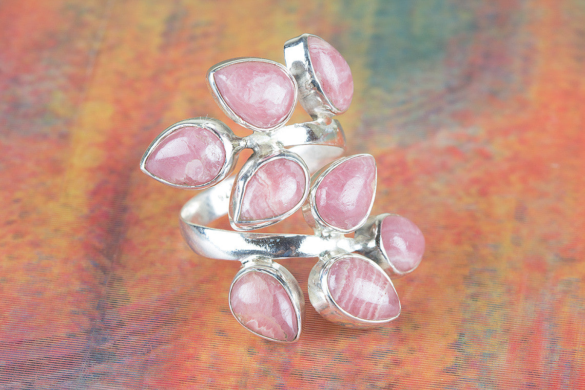 Rhodochrosite Ring, Natural Gemstone Ring, Sterling Silver Ring, Statement Ring, Pink Stone Ring, Healing Ring, Bohomian Style Ring, Gift For Her,