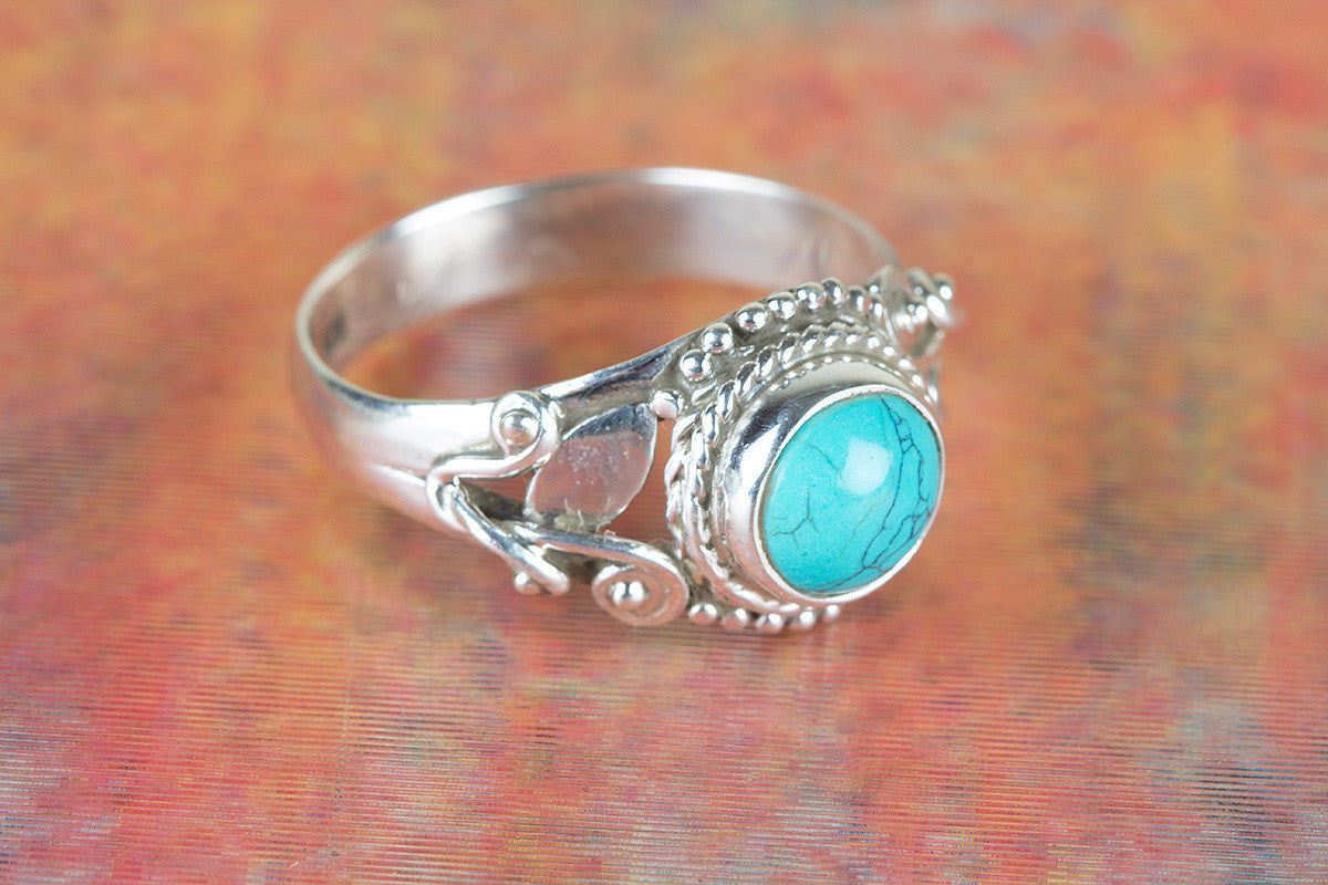 Turquoise Ring, Pure 925 Sterling Silver Ring, Boho Ring ,Natural Tibetan Turquoise Ring, Round Shape Ring, December Birthstone Ring, Gift