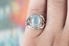 Chalcedony Solitaire Ring, Faceted Aqua Chalcedony Gemstone Ring, Statement Ring, 925 Sterling Silver Ring