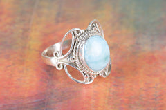 Amazing Larimar Gemstone 925 Silver Ring