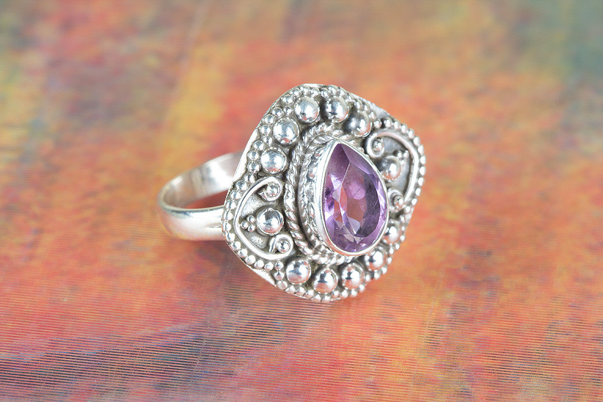 Beautiful Faceted Amethyst Gemstone 925 Silver Ring