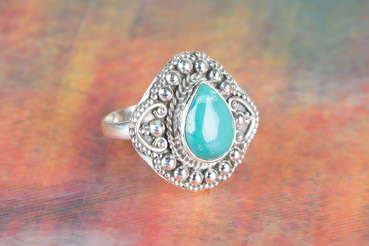 Amazing Natural Turquoise Gemstone 925 Silver Ring