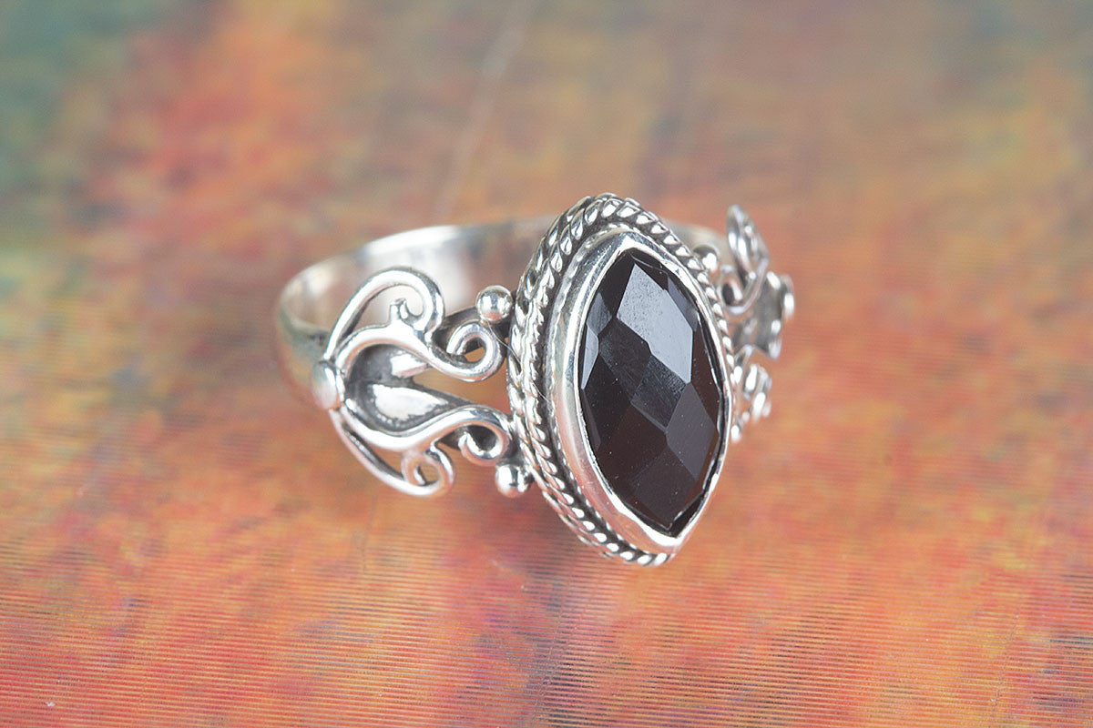 Amazing Handmade Faceted Black Onyx Gemstone 925 Silver Ring