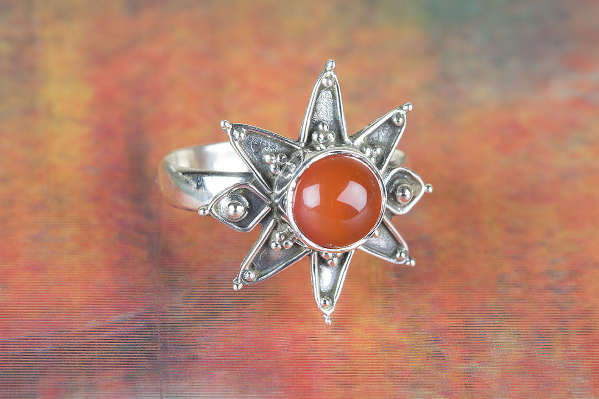 Star Shape Handmade Carnelian Gemstone 925 Silver Ring