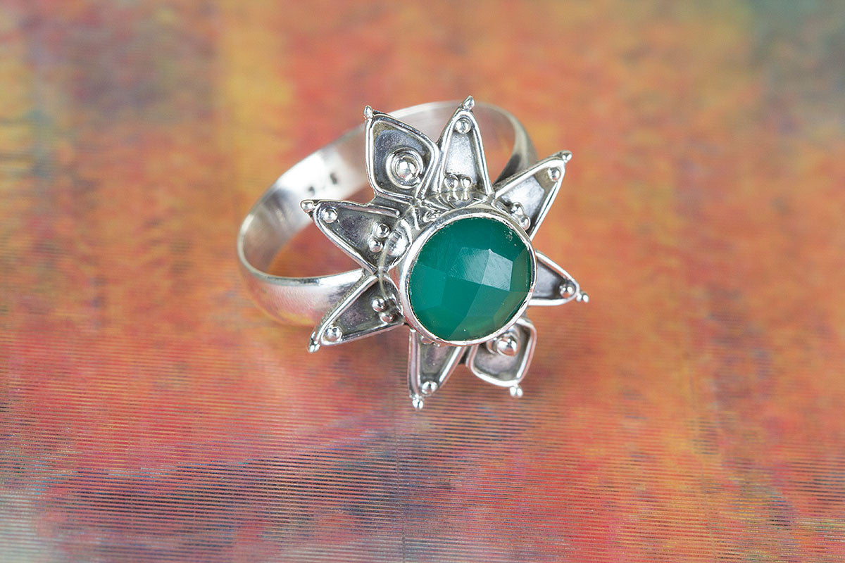 Stare Shape Handemade Faceted Green Onyx Gemstone 925 Silver Ring