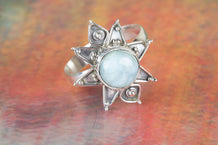 Star Shape Handmade Larimar Gemstone 925 Silver Ring