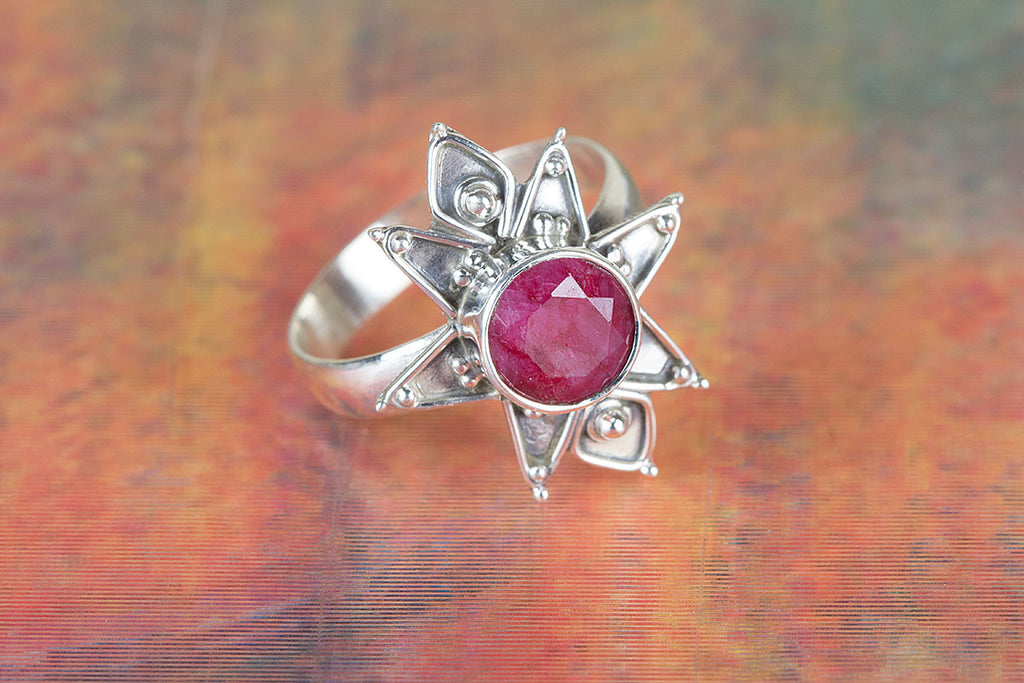 Artisan Designed Star Shape Ruby Gemstone 925 Silver Ring