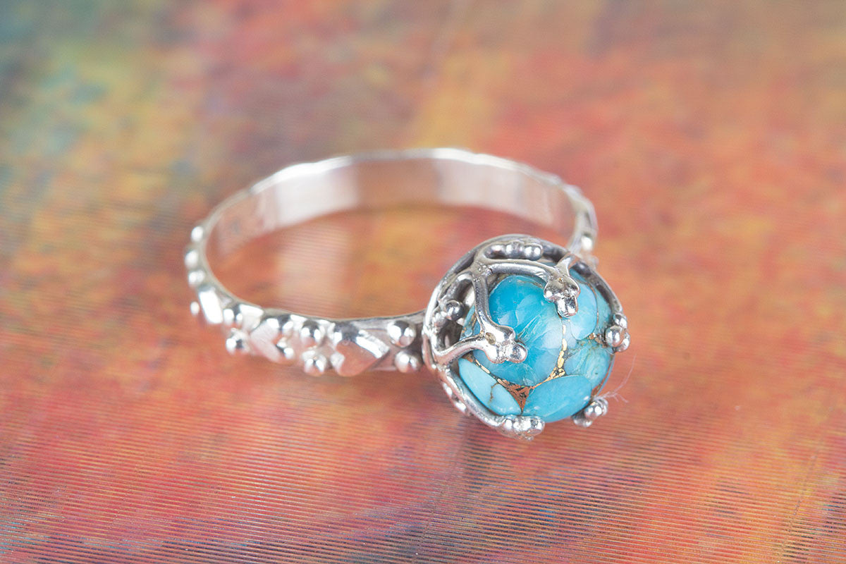 Artiran Designed Blue Copper Turquoise Gemstone 925 Silver Ring