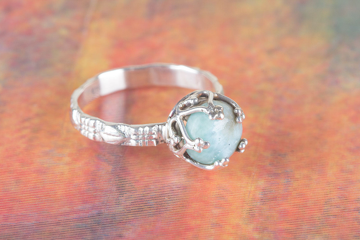 Artisan Designed Larimar Gemstone 925 Silver Ring