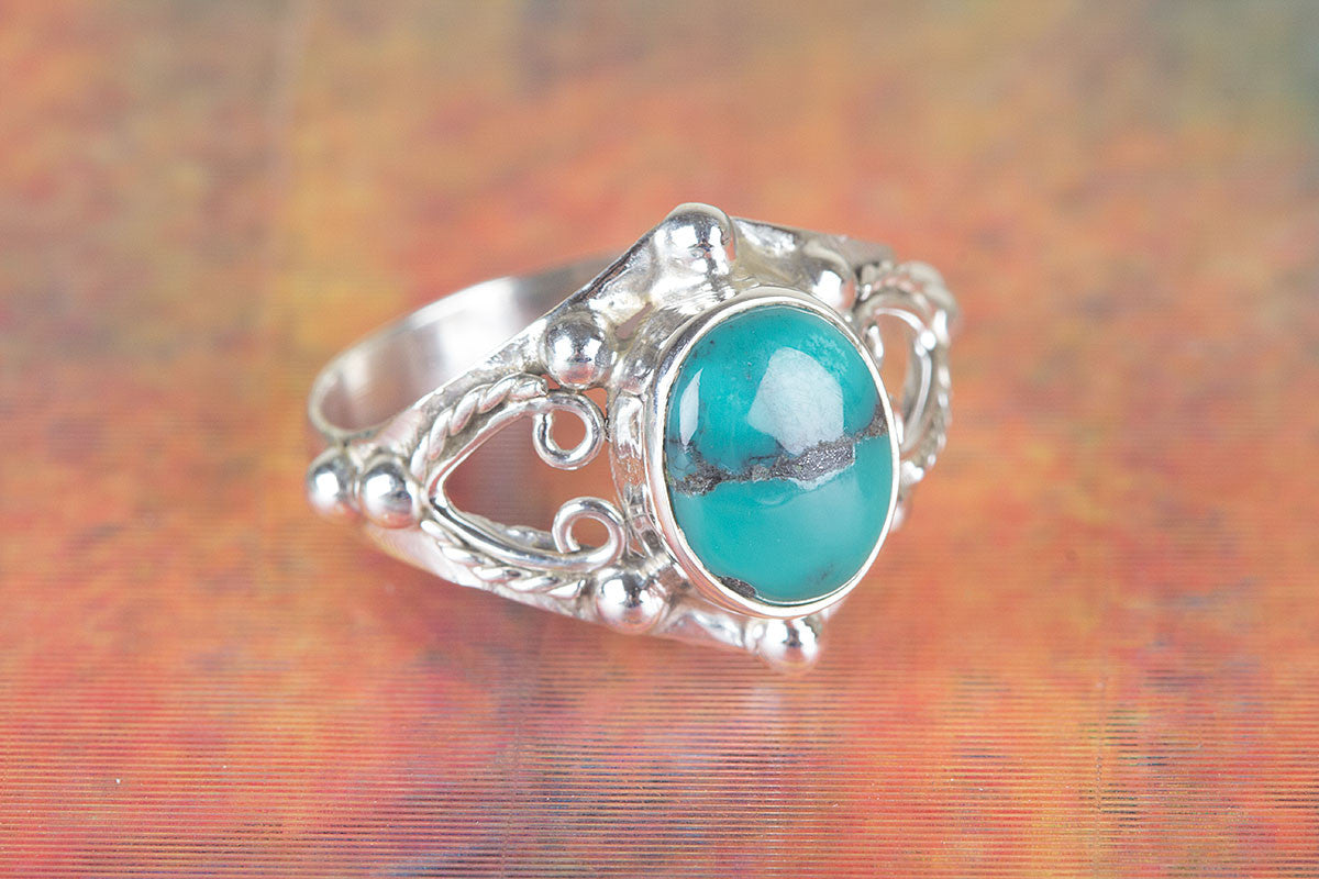 Lovely Handmade Natural Turquoise Gemstone 925 Silver Ring