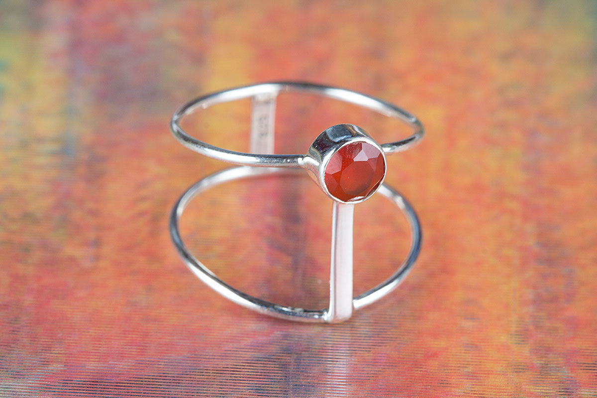 Handmade Faceted Carnelian Gemstone 925 Sterling Silver Ring