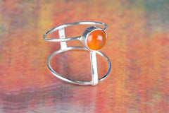 Charming Handmade Carnelian Gemstone 925 Sterling Silver Ring