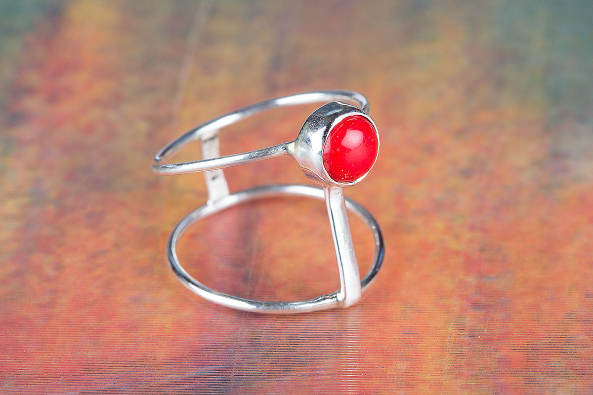 Amazing Handmade Coral Gemstone 925 Sterling Silver Ring