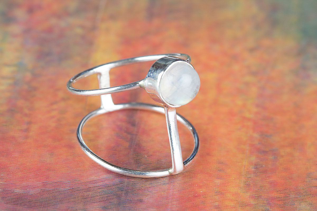 Pure Handmade Rainbow Moonstone Gemstone 925 Sterling Silver Ring