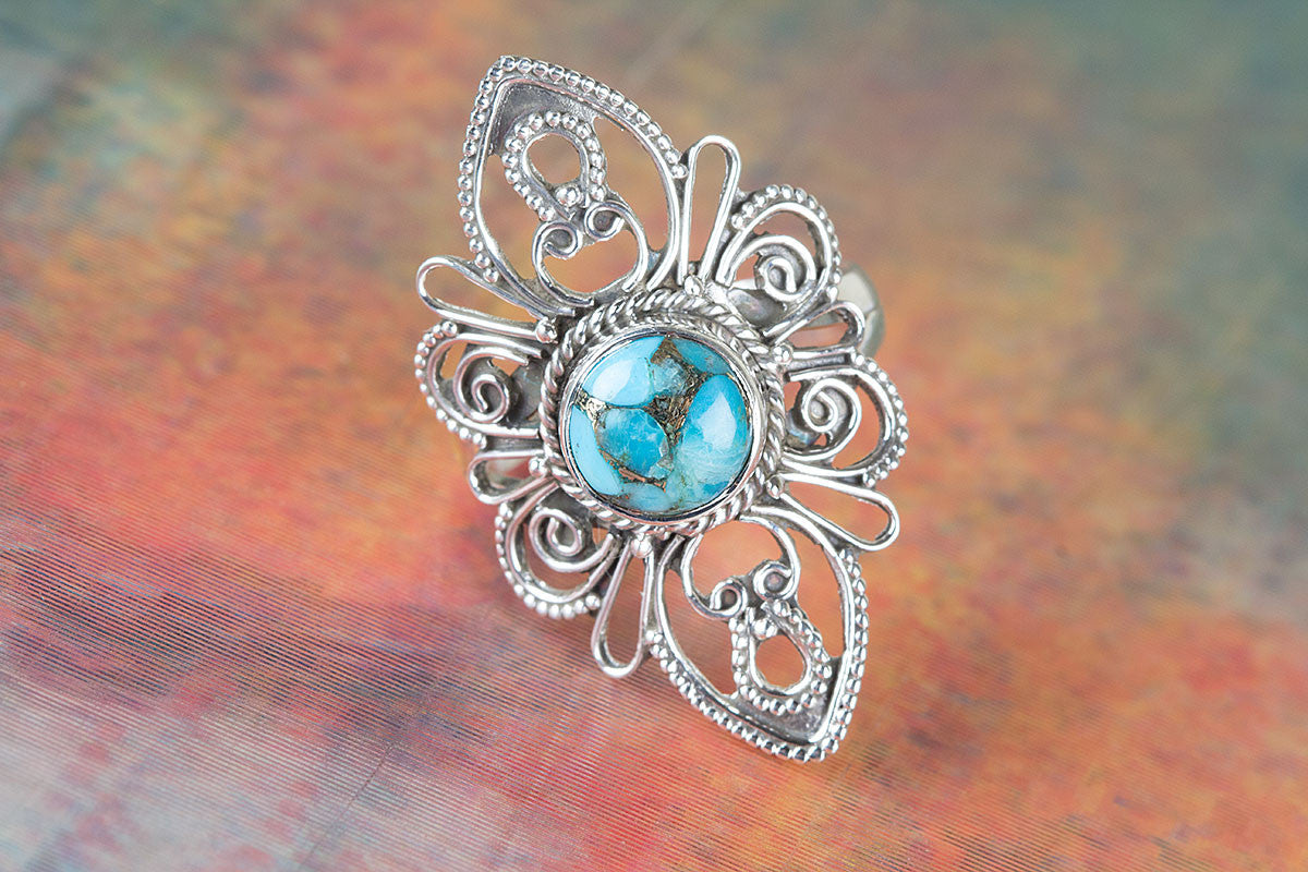 Handmade Blue Copper Turquoise Gemstone 925 Sterling Silver Ring