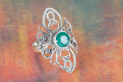 Handmade Emerald Gemstone 925 Sterling Silver Ring