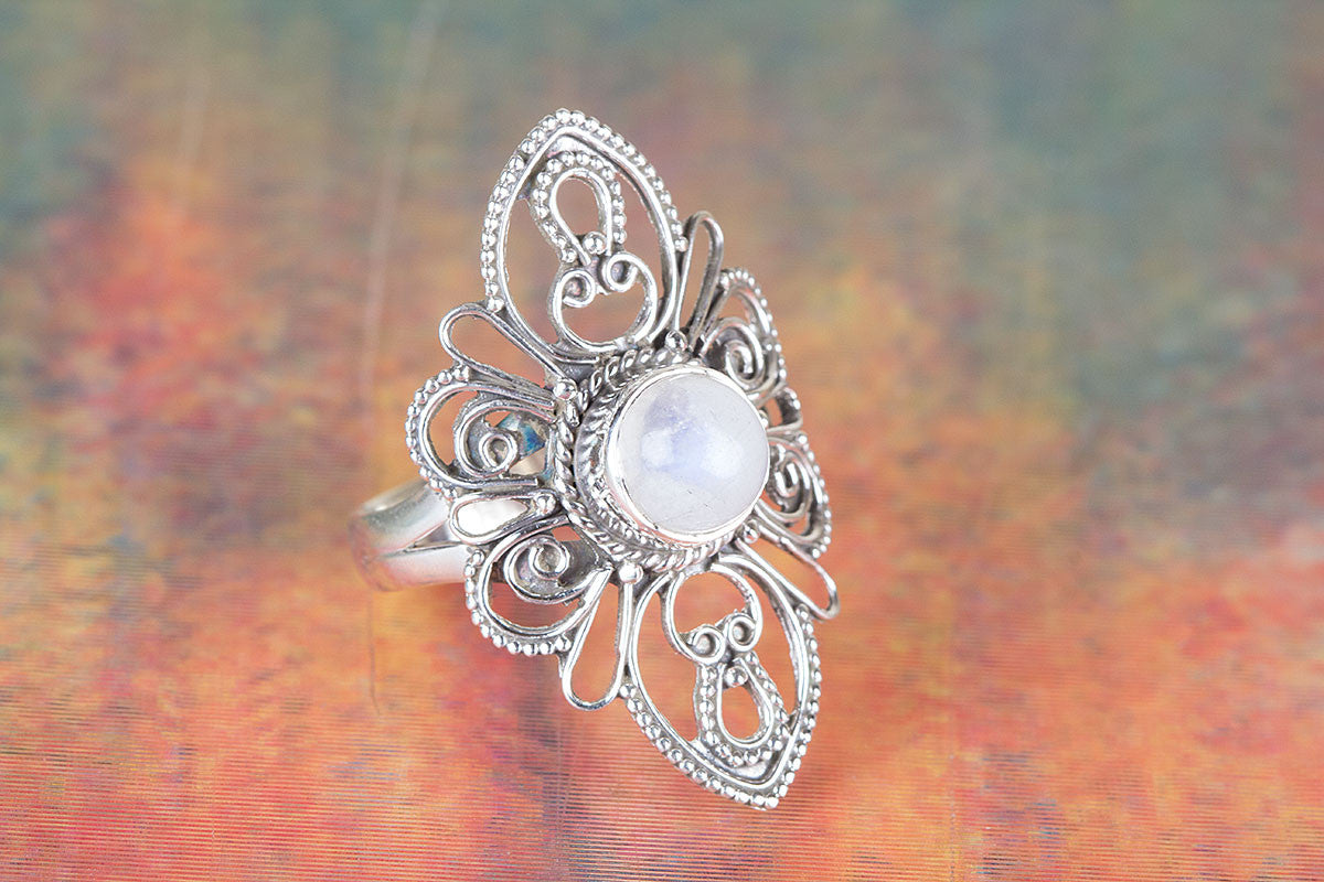 Handmade Rainbow Moonstone Gemstone 925 Sterling Silver Ring