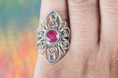 Handmade Ruby Gemstone 925 Sterling Silver Ring