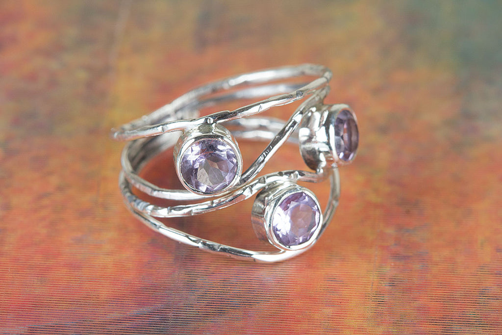 Awesome Handmade Faceted Amethyst Gemstone 925 Sterling Silver Ring