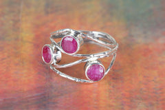 Rare Handmade Ruby Gemstone 925 Sterling Silver Ring