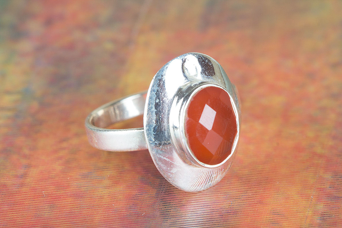 Charming Handmade Faceted Carnelian Gemstone 925 Sterling Silver Ring
