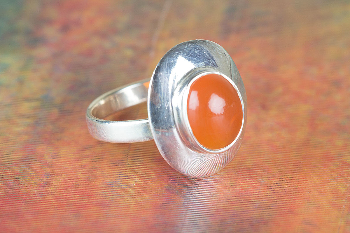 Handmade Carnelian Gemstone 925 Sterling Silver Ring