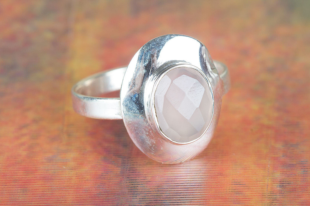 Handmade Faceted Rose Quartz Gemstone 925 Sterling Silver Ring