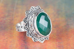 Beautiful Faceted Green Onyx Gemstone 925 Silver Ring