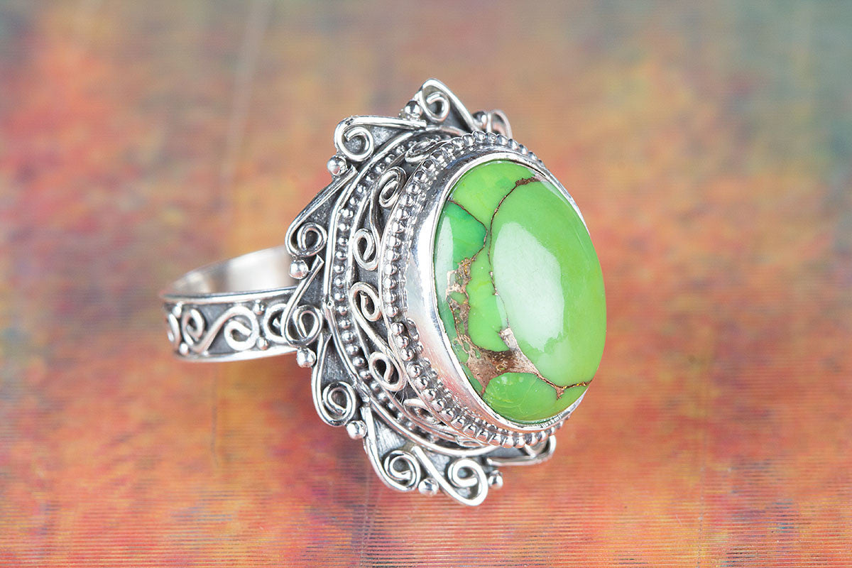 Beautiful Green Turquoise Gemstone 925 Silver Ring