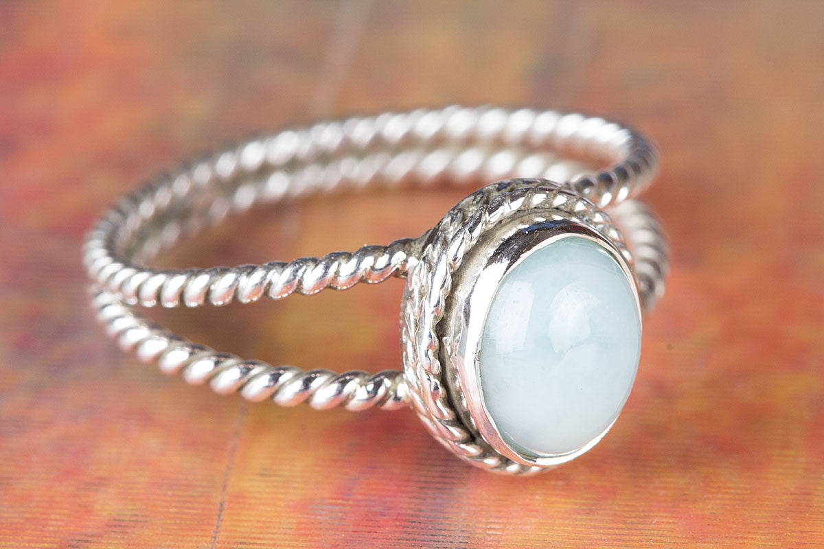 Larimar Ring, Healing Ring, Boho Ring, Pure 925 Sterling Silver Ring, Hippie Ring, Dominican Natural Larimar Ring, Wire Wrapped Ring, Gift