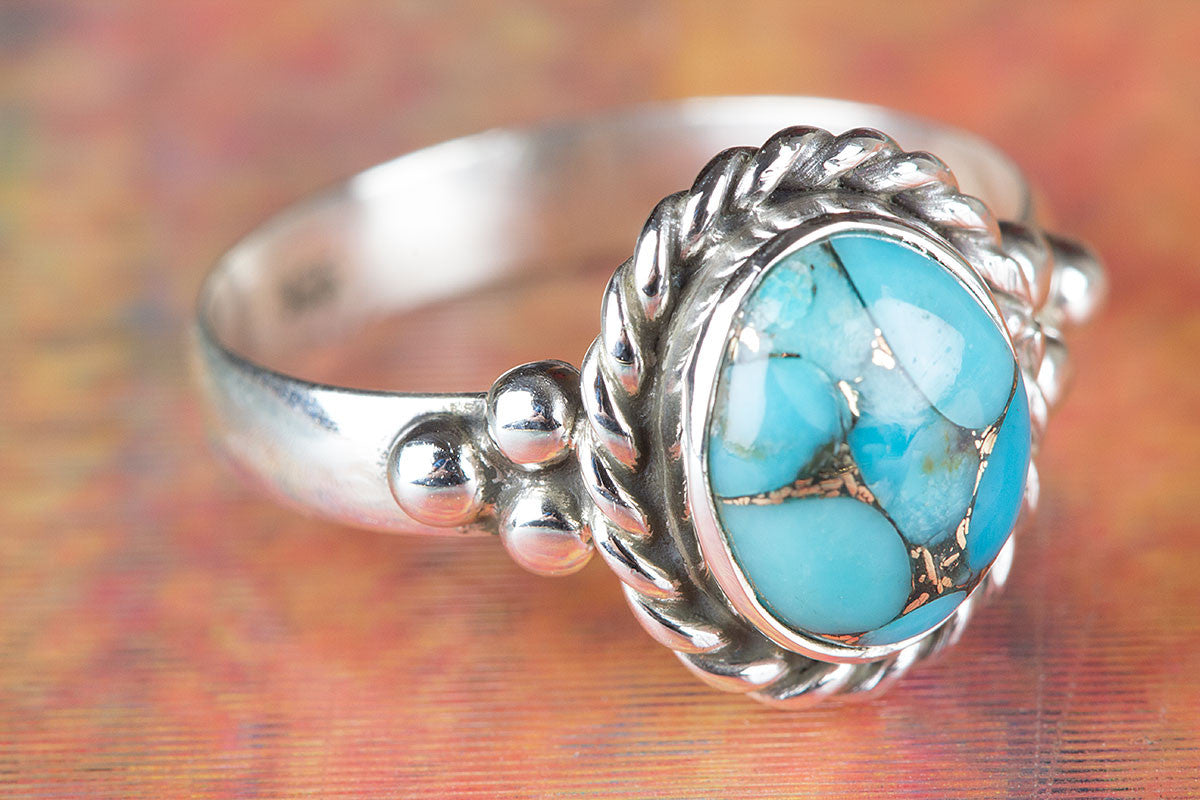 Amazing Blue Copper Turquoise Gemstone 925 Silver Ring