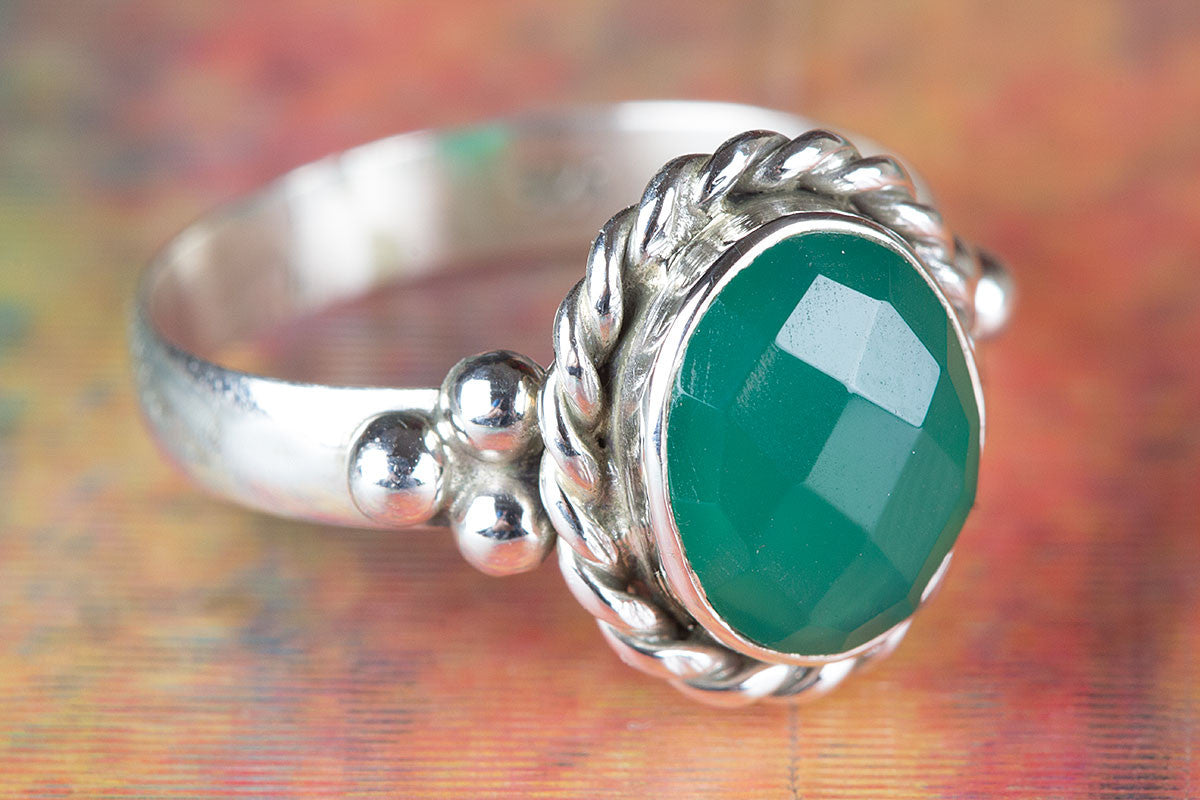 Amazing Faceted Green Onyx Gemstone 925 Silver Ring