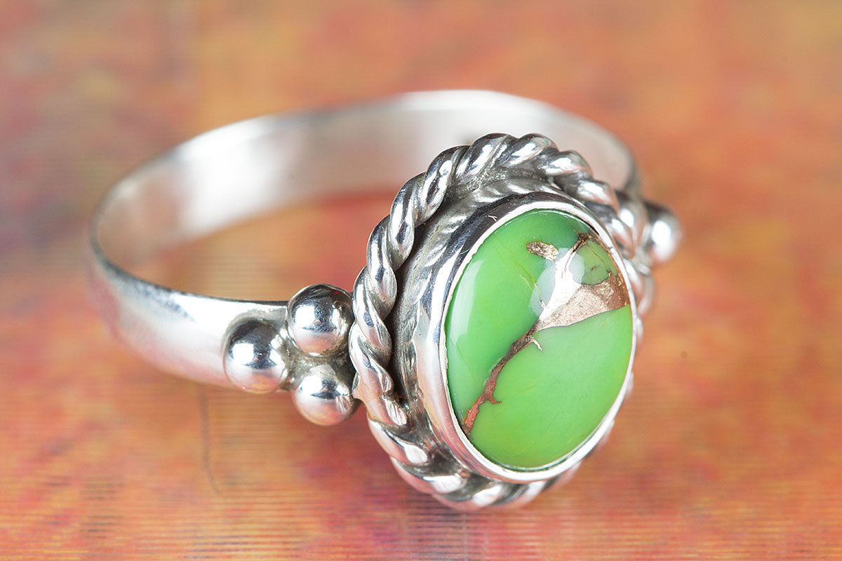 Amazing Green Turquoise Gemstone 925 Silver Ring