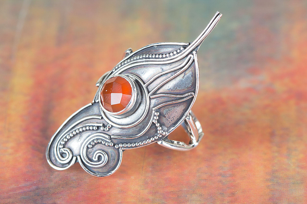 Brazilain Faceted Carnelian Gemstone 925 Silver Ring