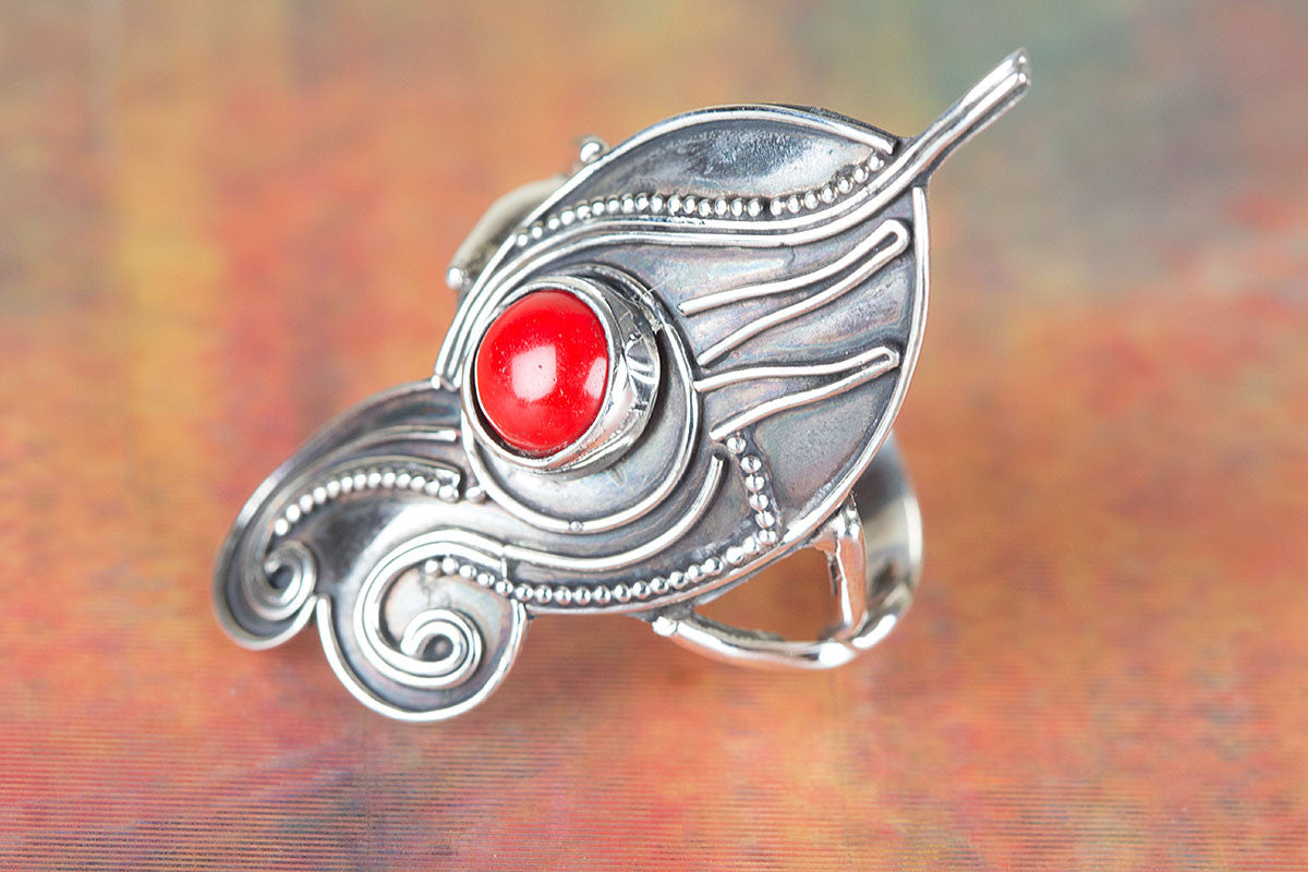 Long Handmade Coral Gemstone 925 Silver Ring