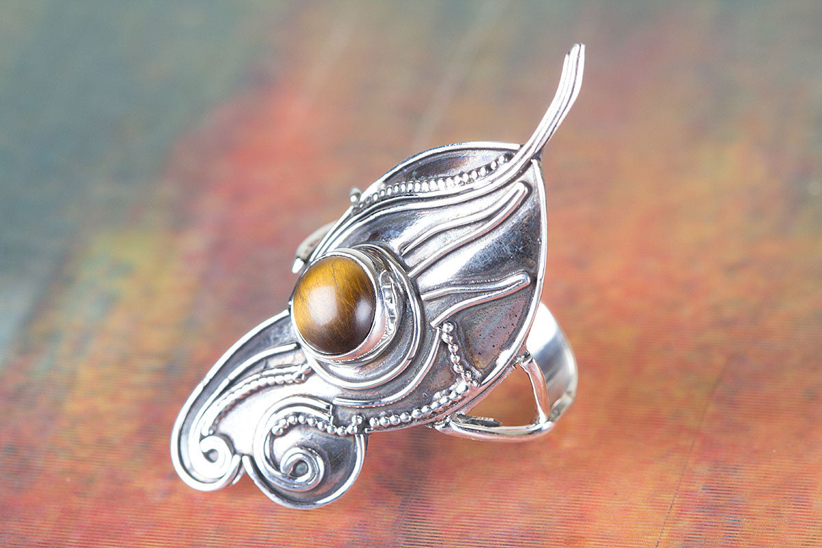Natural Tiger Eye Gemstone 925 Silver Ring