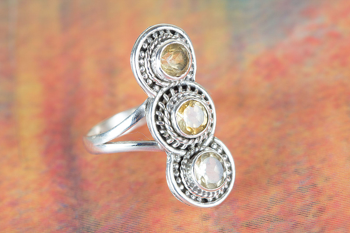 Pure 925 Silver Natural Citrine Ring