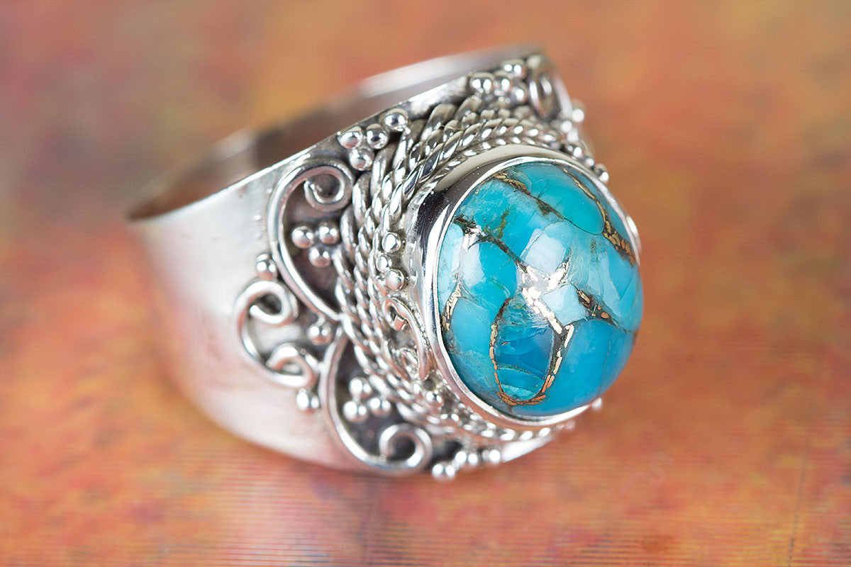 Beautiful HandmadeBlue CopperTurquoise Gemstone 925 Silver Ring