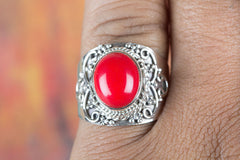 Lovely Handmade Coral Gemstone 925 Silver Ring