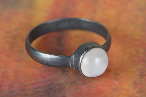 Rainbow Moonstone Ring,Moonstone Stacking Ring,Moonstone Cabochon Ring,Statement Ring,925 Sterling Silver Rings,Silver Moonstone Ring