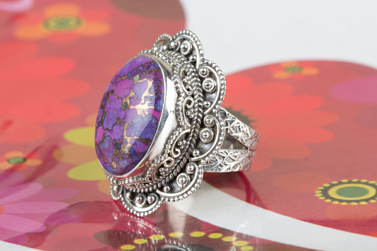 Awesome Handmade Purple Turquoise Gemstone 925 Silver Ring All Size