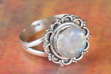 Round Shape Faceted Rainbow Moonstone 925 Silver Ring
