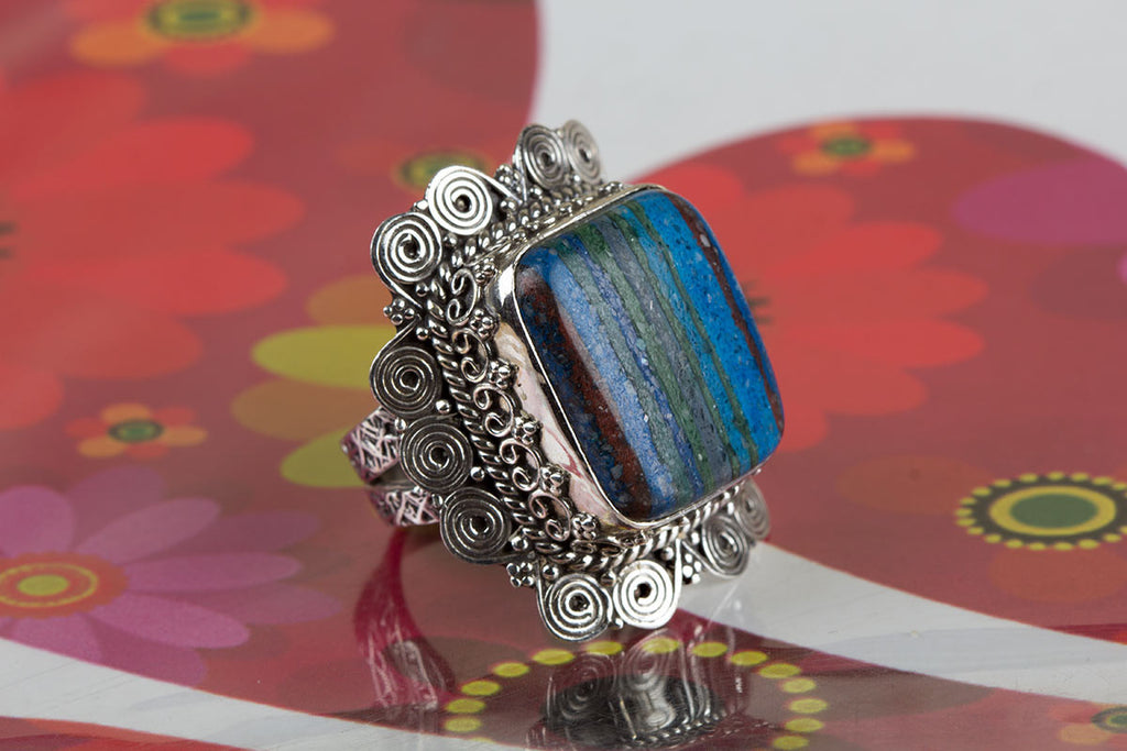 Awesome Handmade Rainbow Calsilica Gemstone 925 Silver Ring All Size