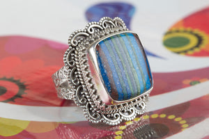 Amazing Handmade Rainbow Calsilica Gemstone 925 Silver Ring All Size