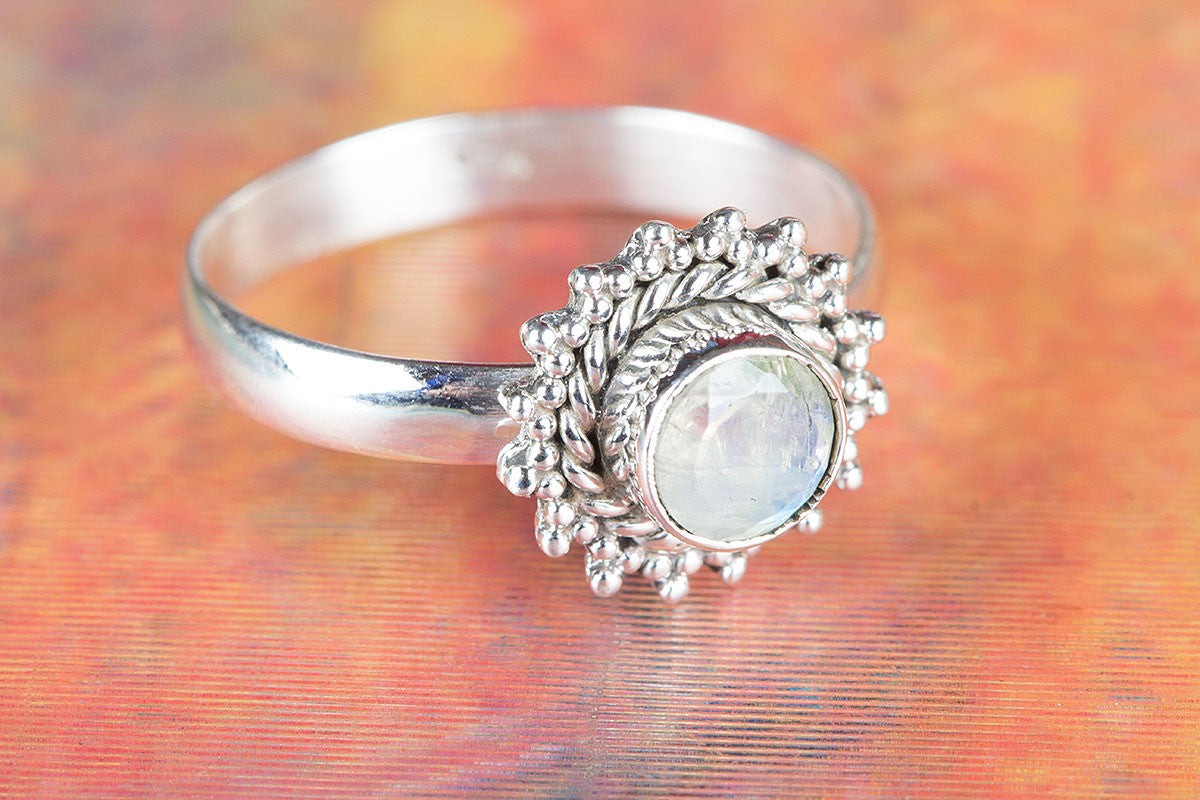 Handemade Rainbow Moonstone Gemstone 925 Silver Ring