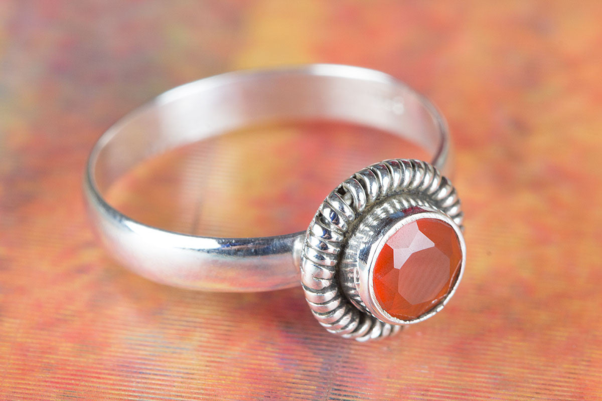 Handemade Faceted Carnelian Gemstone 925 Silver Ring