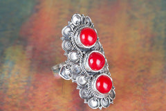 Handemade Coral Gemstone 925 Silver Ring